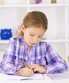 stock photo of homework  - School kid writing homework - JPG