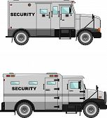stock photo of armored car  - Two variants of the security car in a flat style - JPG
