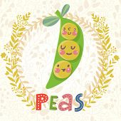 stock photo of sweet pea  - Sweet peas in funny cartoon style - JPG