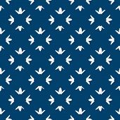 stock photo of indigo  - Hand drawn seamless blue and white indigo pattern - JPG