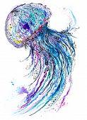 foto of medusa  - Creative sea life art illustration with blue medusa - JPG
