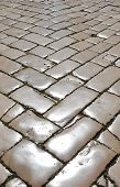 picture of cobblestone  - Street with polished cobblestones in Zadar - JPG