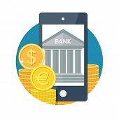 picture of electronic banking  - Mobile banking concept icon - JPG