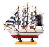 foto of keepsake  - Model of sailing ship isolated on white background - JPG