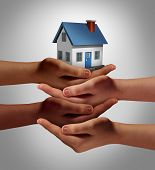 stock photo of social-security  - Community housing concept and neighbor support or neighborhood watch symbol as a connected group of diverse hands supporting and holding a family home as a metaphor for friendly residents - JPG