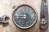 picture of manometer  - Steampunk background - JPG