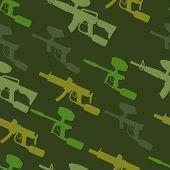 image of paintball  - paintball guns seamless pattern - JPG