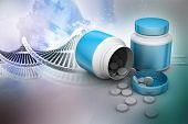 foto of antibiotics  - medicine bottle and pills in color background - JPG