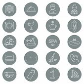 stock photo of glyphs  - Icons of hotel service in grey background - JPG
