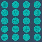 stock photo of glyphs  - Hotel line icons set green background - JPG