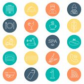 stock photo of glyphs  - Hotel line icons set colorful background - JPG