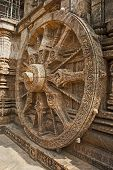 image of chariot  - Konark Sun Temple also known as the Black Pagoda is a 13th - JPG