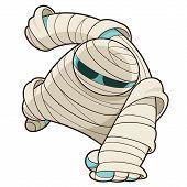stock photo of mummy  - Vector illustration of scary Halloween mummy with bandage - JPG