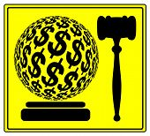 picture of punishment  - Concept sign for the financial punishment in court or sue for damages and compensation - JPG
