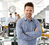 picture of cross  - Happy casual handsome caucasian business team leader at startup office - JPG