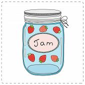 stock photo of mason  - Strawberry jam in mason jar on white backgraund - JPG