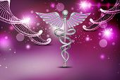 picture of biomedical  - Dna and caduceus sign in attractive color background - JPG
