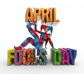 pic of harlequin  - 3D rendering clipart celebrating april fool - JPG