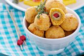 foto of olive shaped  - Italian Appetizer Olives baked in cheddar dough - JPG
