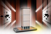 foto of smart grid  - smart phone with real estate concept in attractive color background - JPG