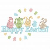 picture of easter eggs bunny  - Vector easter greeting card with cute easter eggs - JPG