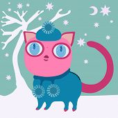 image of ball cap  - Cute pink cat with big eye in blue winter cap and dress with balls - JPG