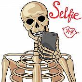 stock photo of skeleton  - Human skeleton takes the selfie with cellular phone - JPG