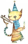 Cat-astrologist with a candle and a telescope. Illustration by Eugene Ivanov