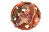 pic of red meat  - fresh hot roasted beef meat bone steak on red wooden plate with red hot pepper and capers isolated over white background - JPG