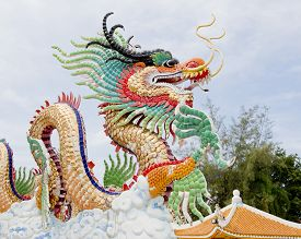 stock photo of taoism  - Closeup decoration design of Chinese dragon on nature background - JPG