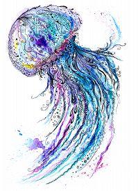 stock photo of medusa  - Creative sea life art illustration with blue medusa - JPG