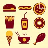 image of chinese food  - Fast food vector icon set - JPG
