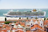 picture of passenger ship  - View of big passenger ship in Lisbon port from Alfama Miradouro - JPG