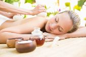 pic of day care center  - Attractive young woman getting massage on her back at spa center - JPG