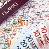 Passport, Euros and Berlin Map