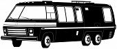 picture of camper-van  - Black and White Motorhome Camper RV Illustration - JPG