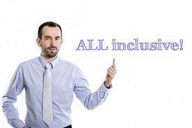 picture of all-inclusive  - All inclusive Young businessman with small beard pointing up in blue shirt - JPG