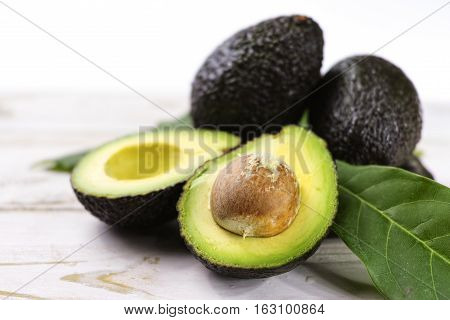 poster of Green ripe avocado from organic avocado plantation - healthy food