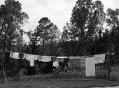 Laundry hanging on an outside
