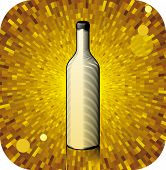 Vector Gravure bottle with shine yellow background