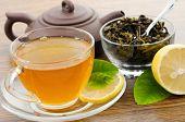 herbal tea with piece of lemon