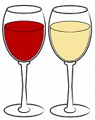 red and white wine in glasses - vector