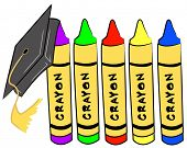 pre school graduation - cap hanging from crayons - vector