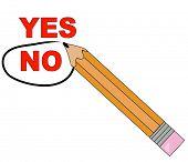 pencil choosing no and circling it