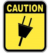 yellow caution sign warning of power surge or electrocution - vector