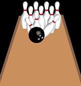 bowling ball knocking down pins in lane