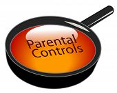 magnifying glass over top of parental controls button