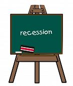 the word recession written on a chalkboard easel