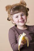 Little girl in monkey disguise