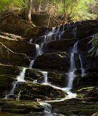 Waterfall Cascade With Moss